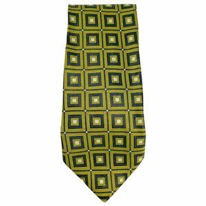 Echo Mens Silk Designer Green Black Square Tie
